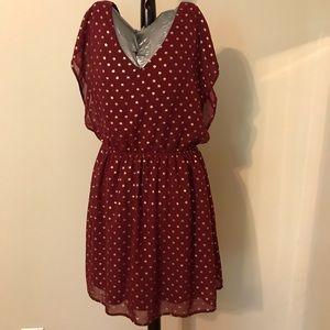 Charming Charlie Sz medium red and gold dot dress